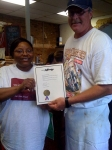 Carol Walton-Taylor receives the 'Walton-Johnson family' official welcome to Jefferson, Texas from Mayor/Restaurant Ow